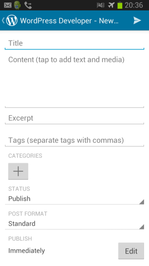 WordPress App for Android - Screen Shot