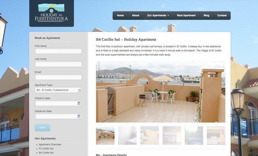 WordPress Web Design - Holiday in Fuerteventura Website - Apartment